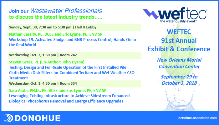 WEFTEC Features Donohue Personnel Header Image